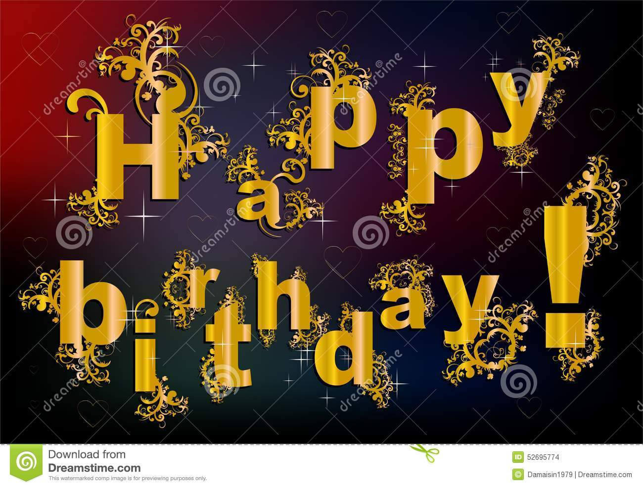happy birthday letter style happy birthday in baroque style stock illustration 8820