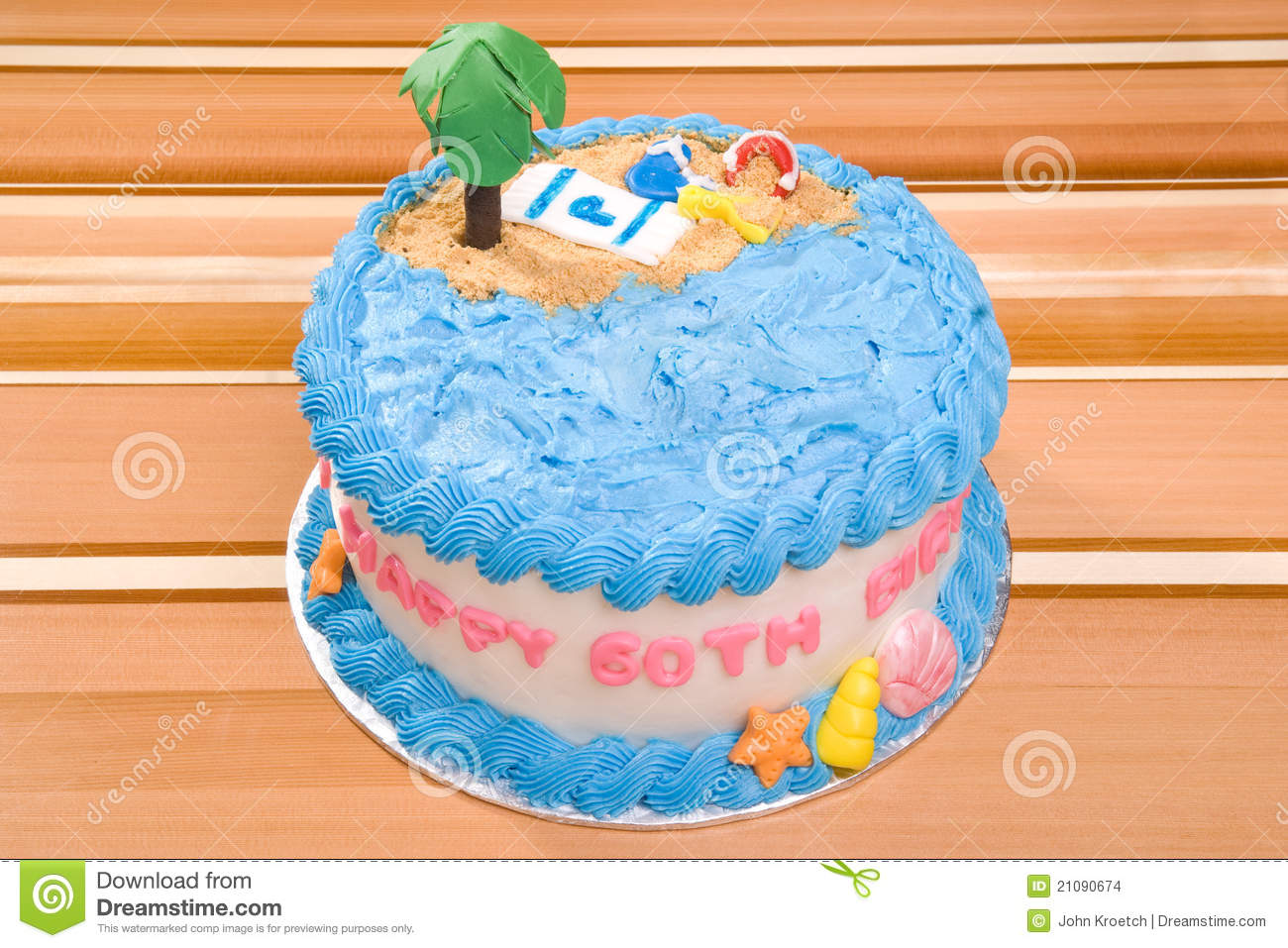 Happy Birthday Beach Cake Stock Photo Image Of Palm