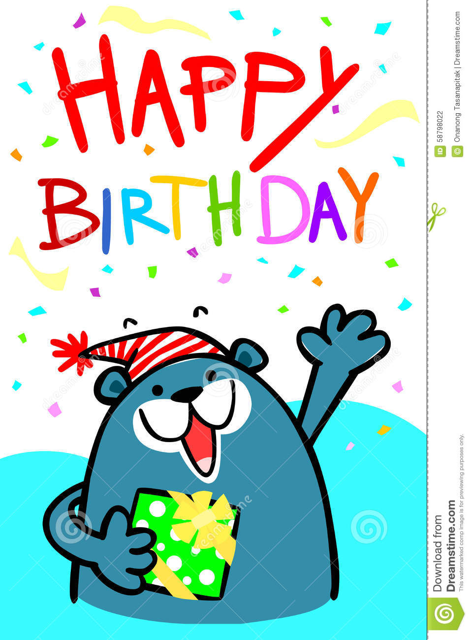Happy Birthday Bear Card Illustration