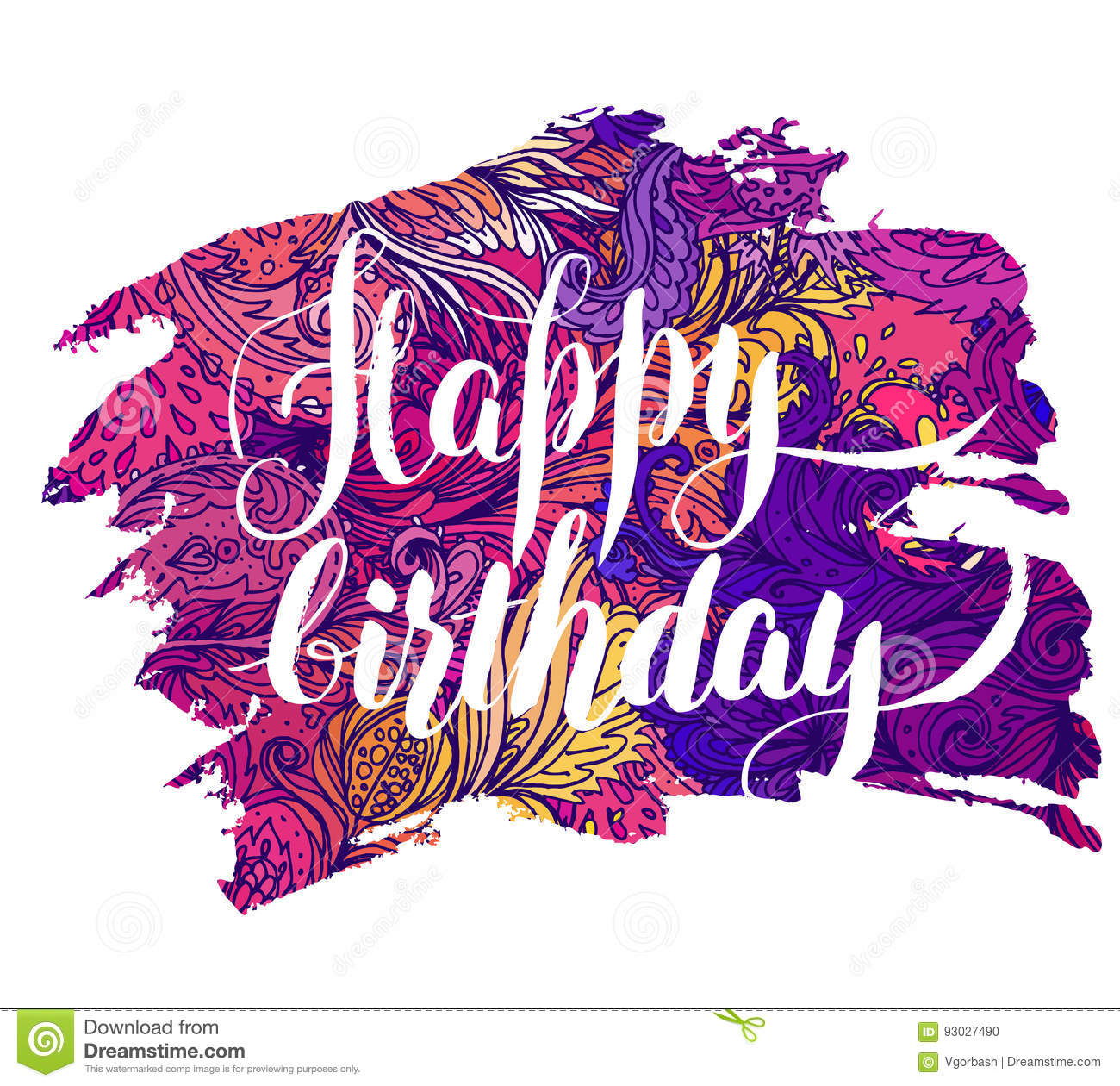 Happy Birthday Beautiful Greeting Card Bright Illustration Can Be Used As Creating Cardinvitation For Weddingbirthday And Other Holiday Cute