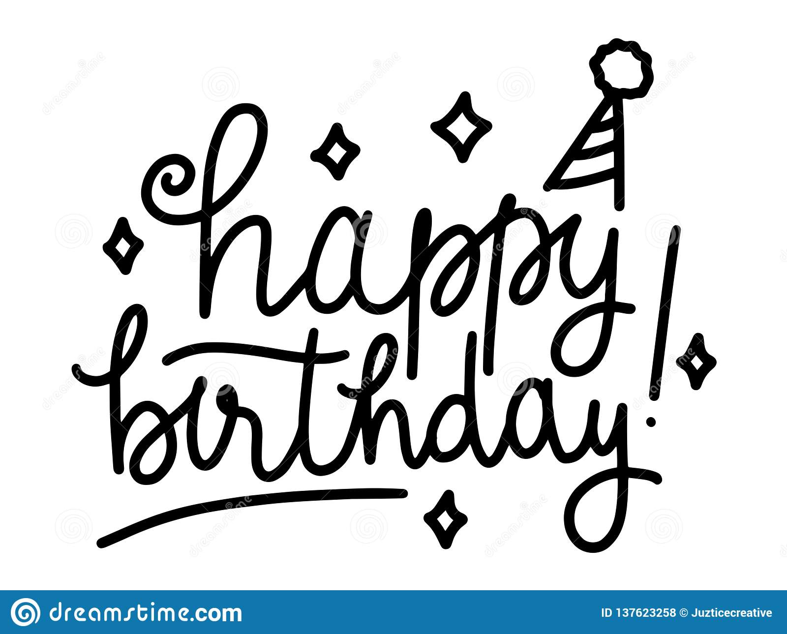 Happy Birthday Beautiful Greeting Card Calligraphy Text