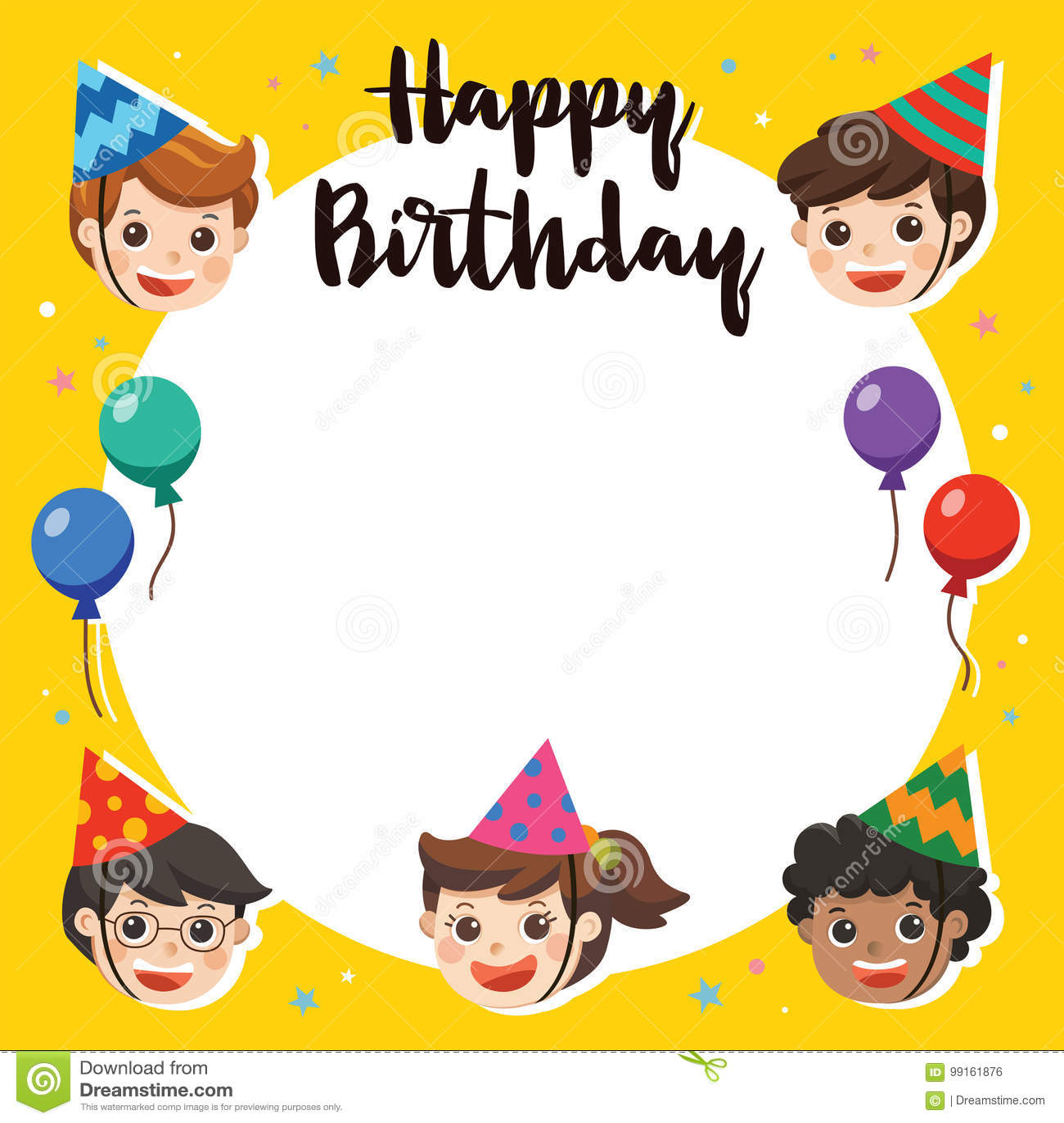 Happy Birthday Beautiful Kids Greeting Funny Stock Vector