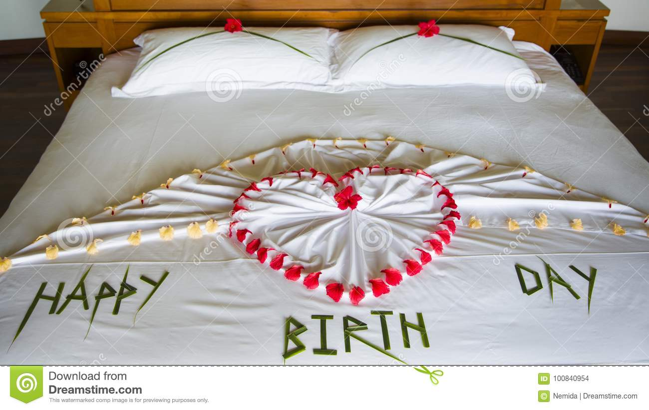 Happy Birthday In Bed Stock Photo Image Of Message 100840954