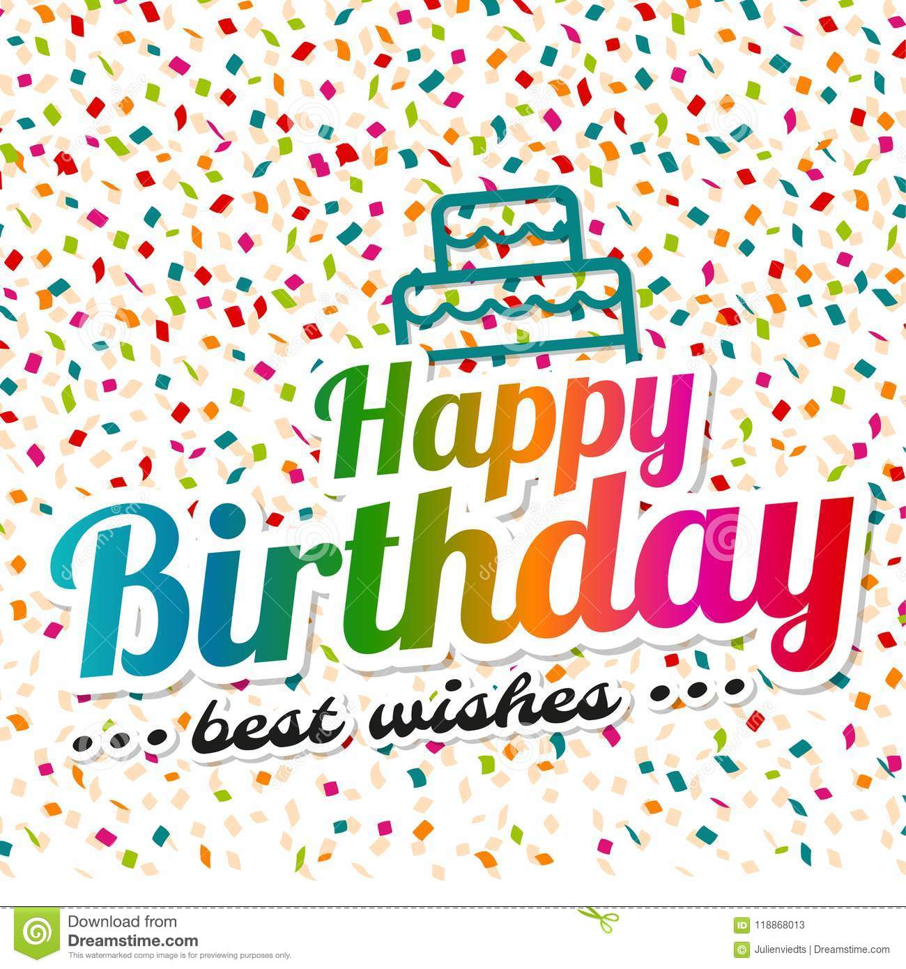 Happy Birthday And Best Wishes Greeting Card Stock Vector