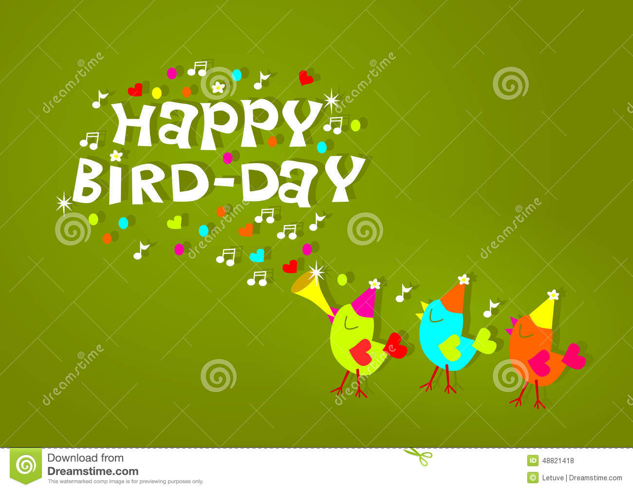 Happy Birthday Birds Greeting Card Stock Illustration Illustration