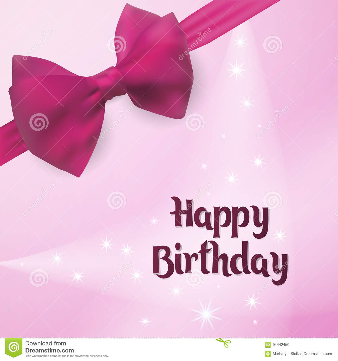 Happy birthday birth greeting card backlight on the background download happy birthday birth greeting card backlight on the background decorated with pink bow m4hsunfo