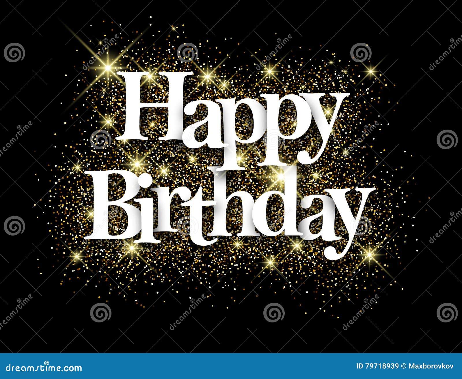 Happy Birthday Black Background Stock Vector