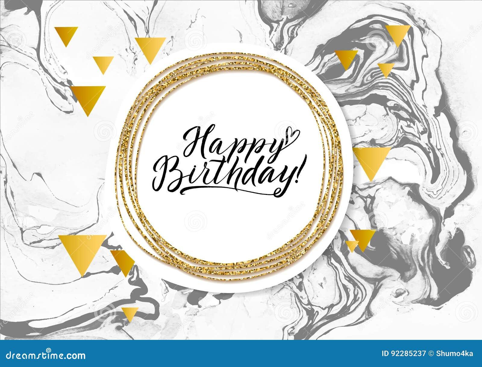 happy birthday black marble texture card shimmer golden banner