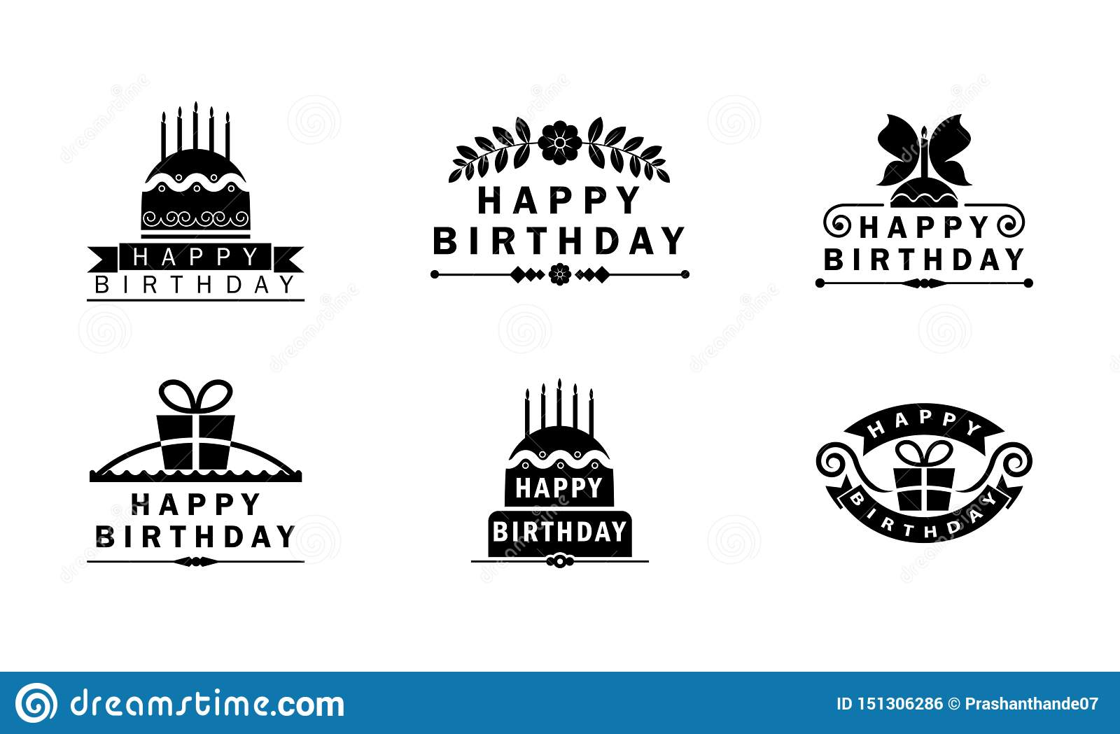 Happy birthday Black and white badges/ logo unites