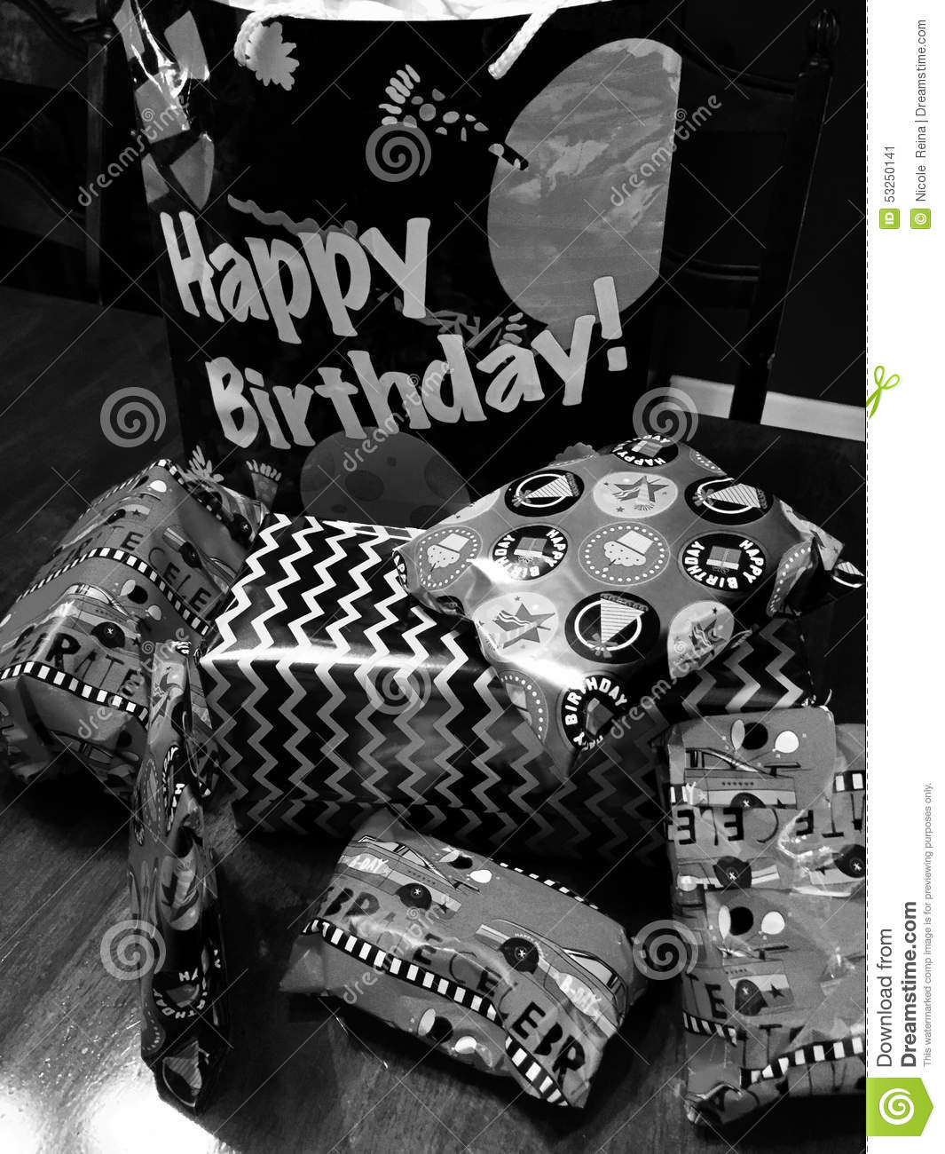 Happy birthday black and white stock image image of wrapping