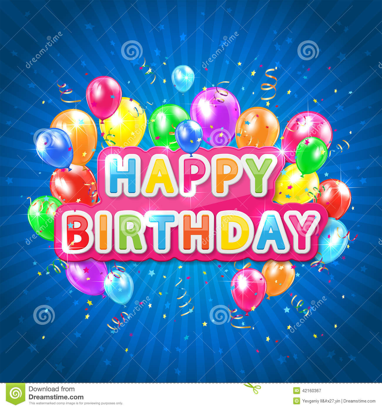 Happy Birthday Blue Background Stock Vector Illustration