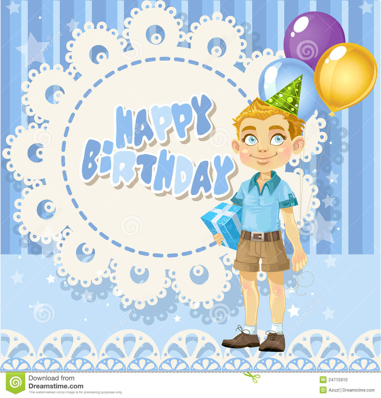 Happy Birthday Blue Openwork Card For Your Greetings To Cute Boy