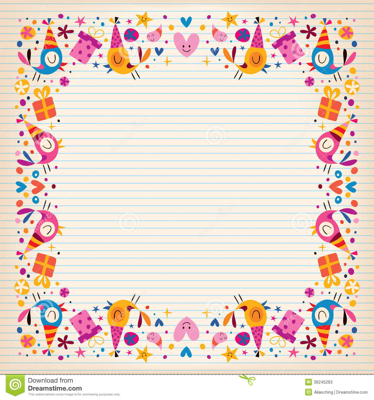 happy birthday border lined paper card with space for text