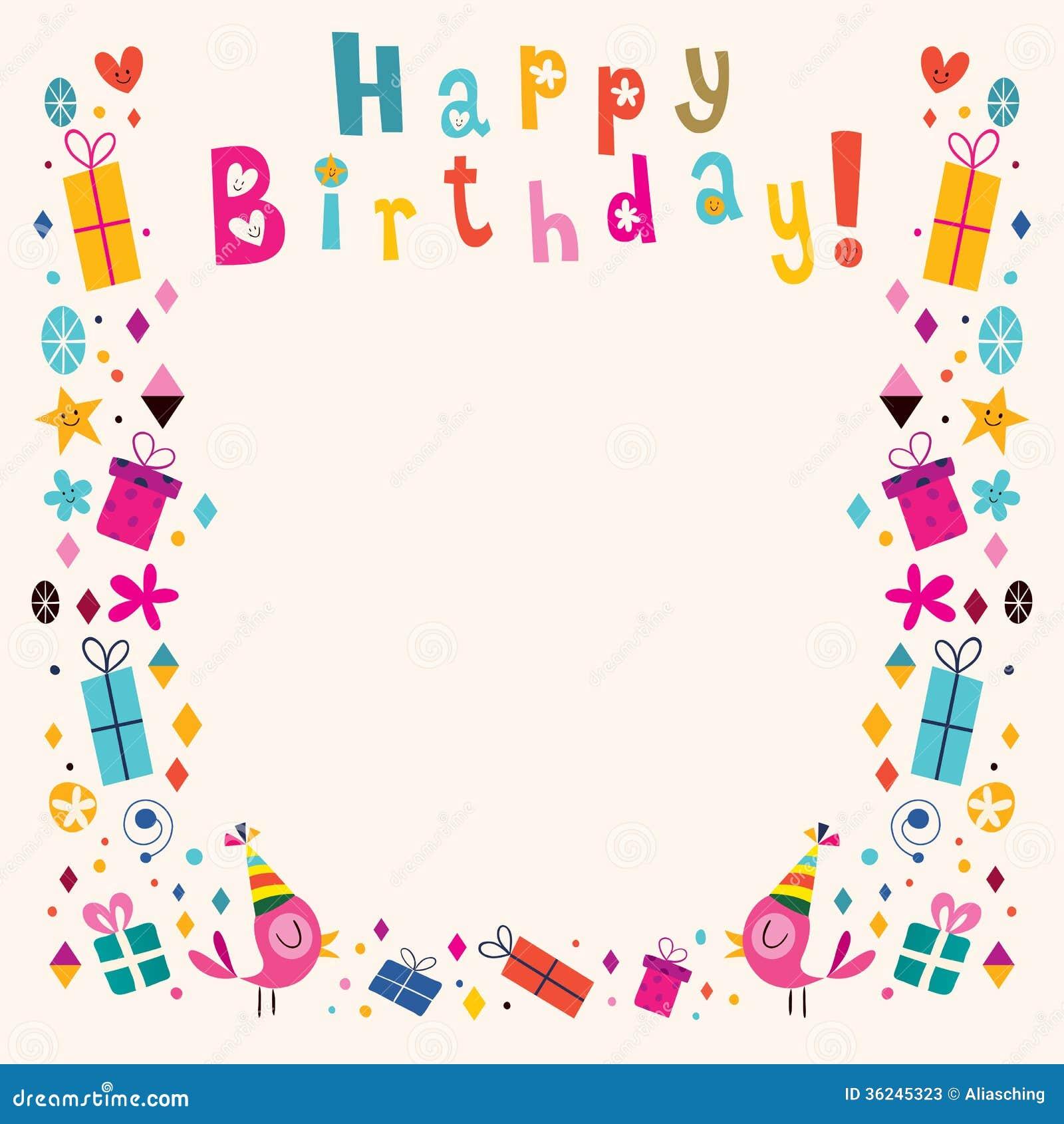 Happy Birthday Border Retro Card Stock Vector - Illustration of happy, banner: 36245323