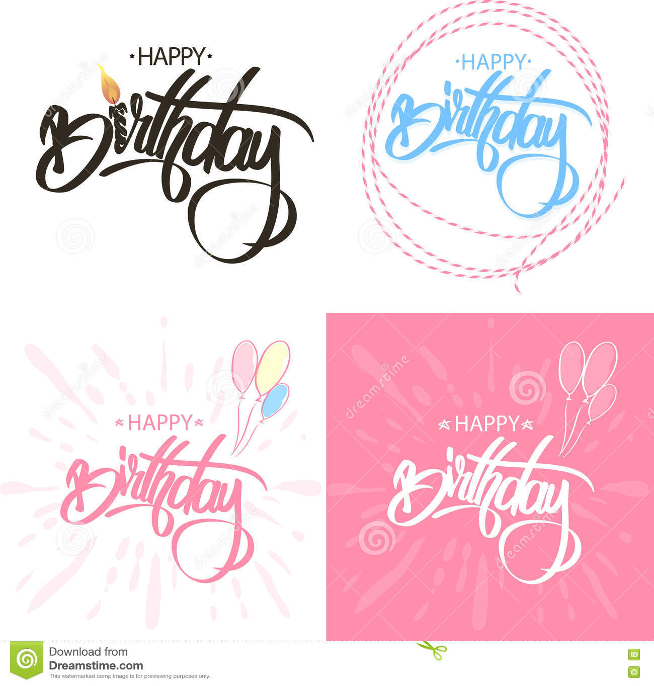 Happy Birthday Brush Script Style Hand lettering. Calligraphic Phrase Sat