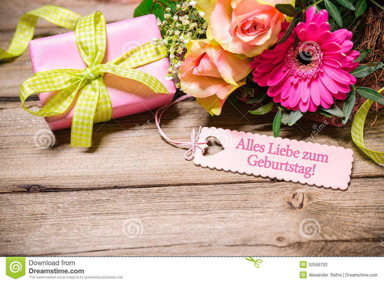 Happy birthday stock photo image of announcement festive 52559702 bunch of flowers and tag with text on wooden background happy birthday izmirmasajfo