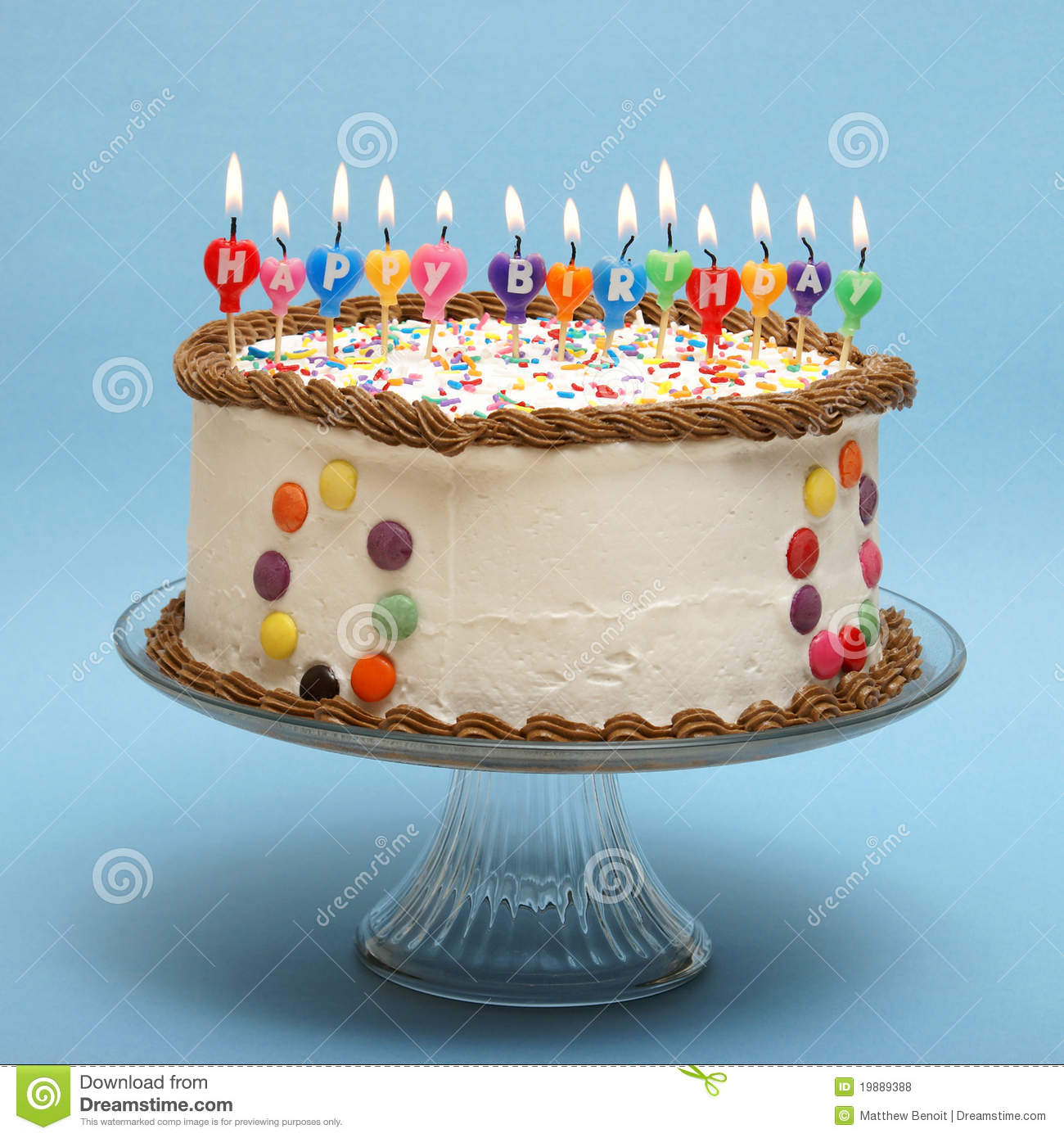 Happy Birthday Cake Stock Photo Image Of Colorful Flame 19889388