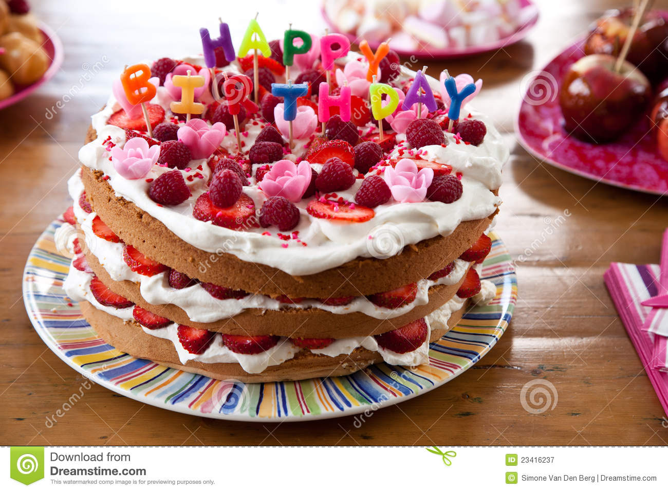 Happy Birthday Cake Stock Image Of Colourful Layered