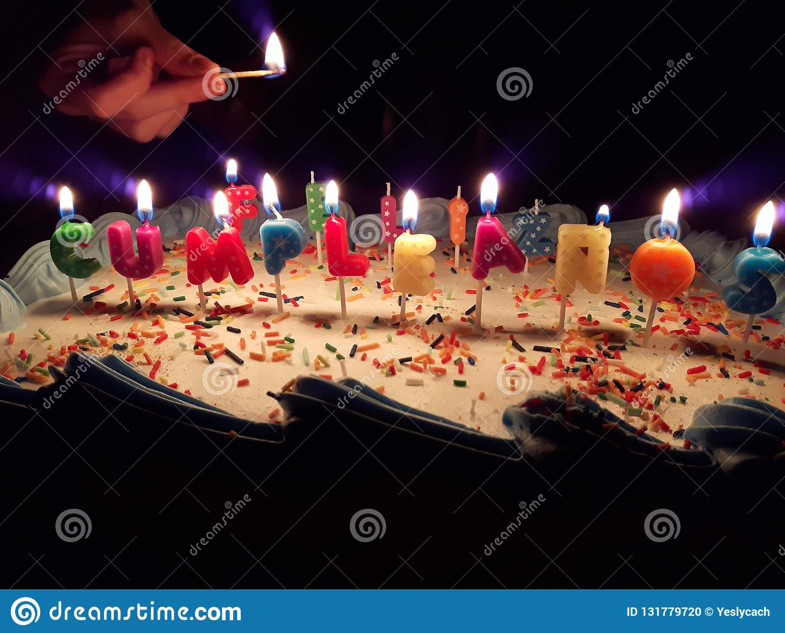 Surprising Happy Birthday Cake With Beautiful Candles Stock Photo Image Of Birthday Cards Printable Riciscafe Filternl