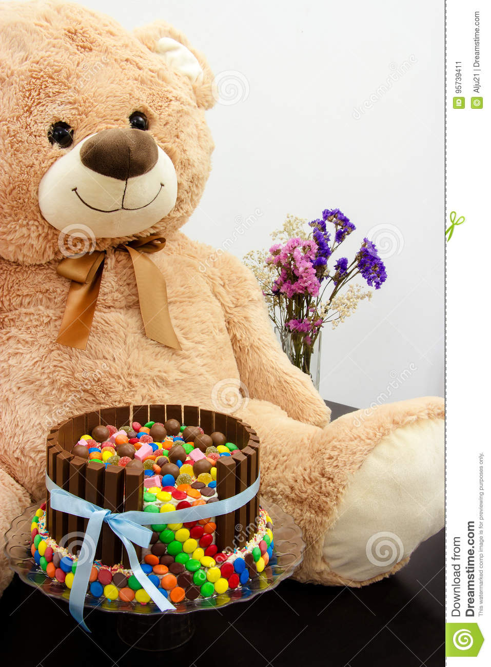 Happy Birthday Cake And Big Teddy Bear Festive Tea Party Pinata A