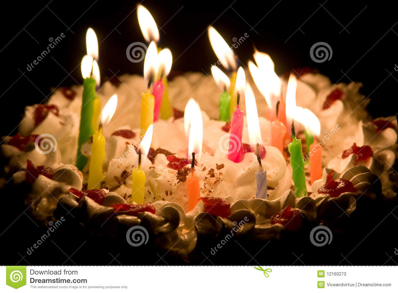 Happy Birthday Cake Burning Candles Stock Photos