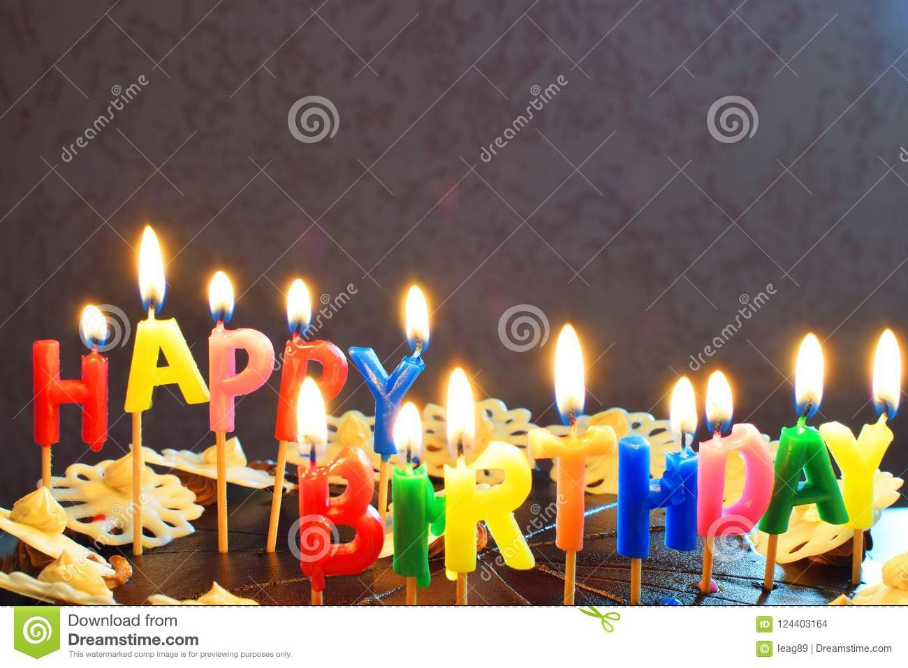 Happy Birthday Cake With Burning Candles Stock Photo Image Of