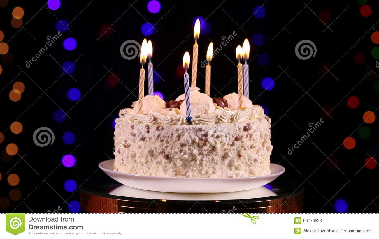 Happy Birthday Cake With Burning Candles Stock Video Video Of