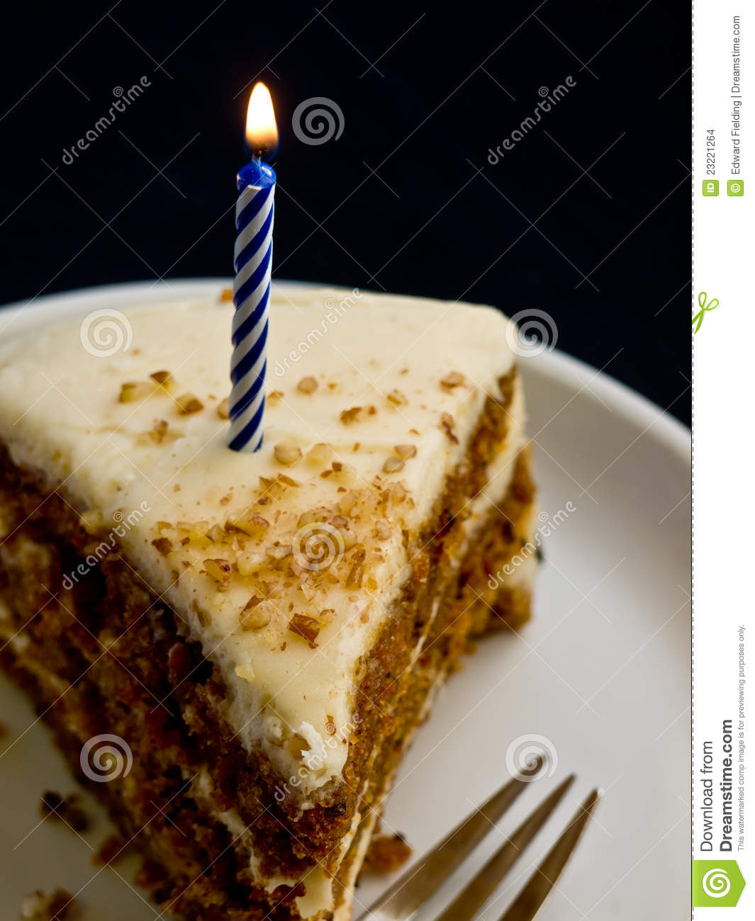 Happy Birthday Cake Candle Stock Photo Image Of Burning Alone
