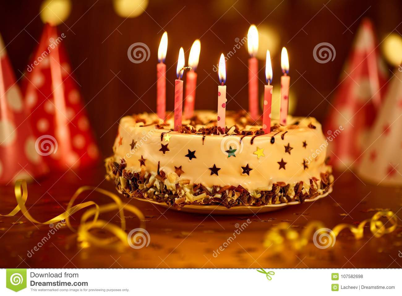 Fantastic Happy Birthday Cake With Candles Stock Photo Image Of Beautiful Funny Birthday Cards Online Elaedamsfinfo