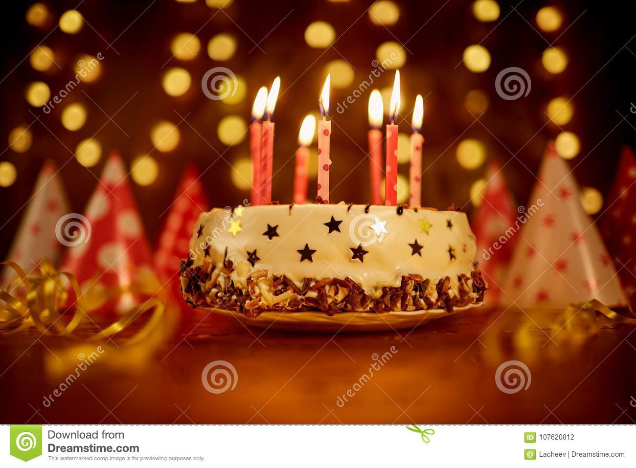 Happy Birthday Cake With Candles Stock Photo Image Of Gift