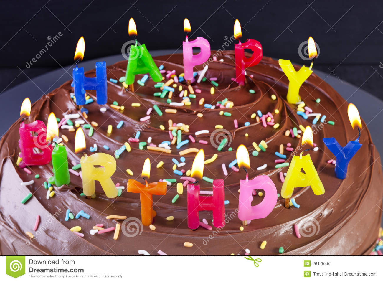Terrific Happy Birthday Cake Candles Stock Image Image Of Chocolate Funny Birthday Cards Online Elaedamsfinfo