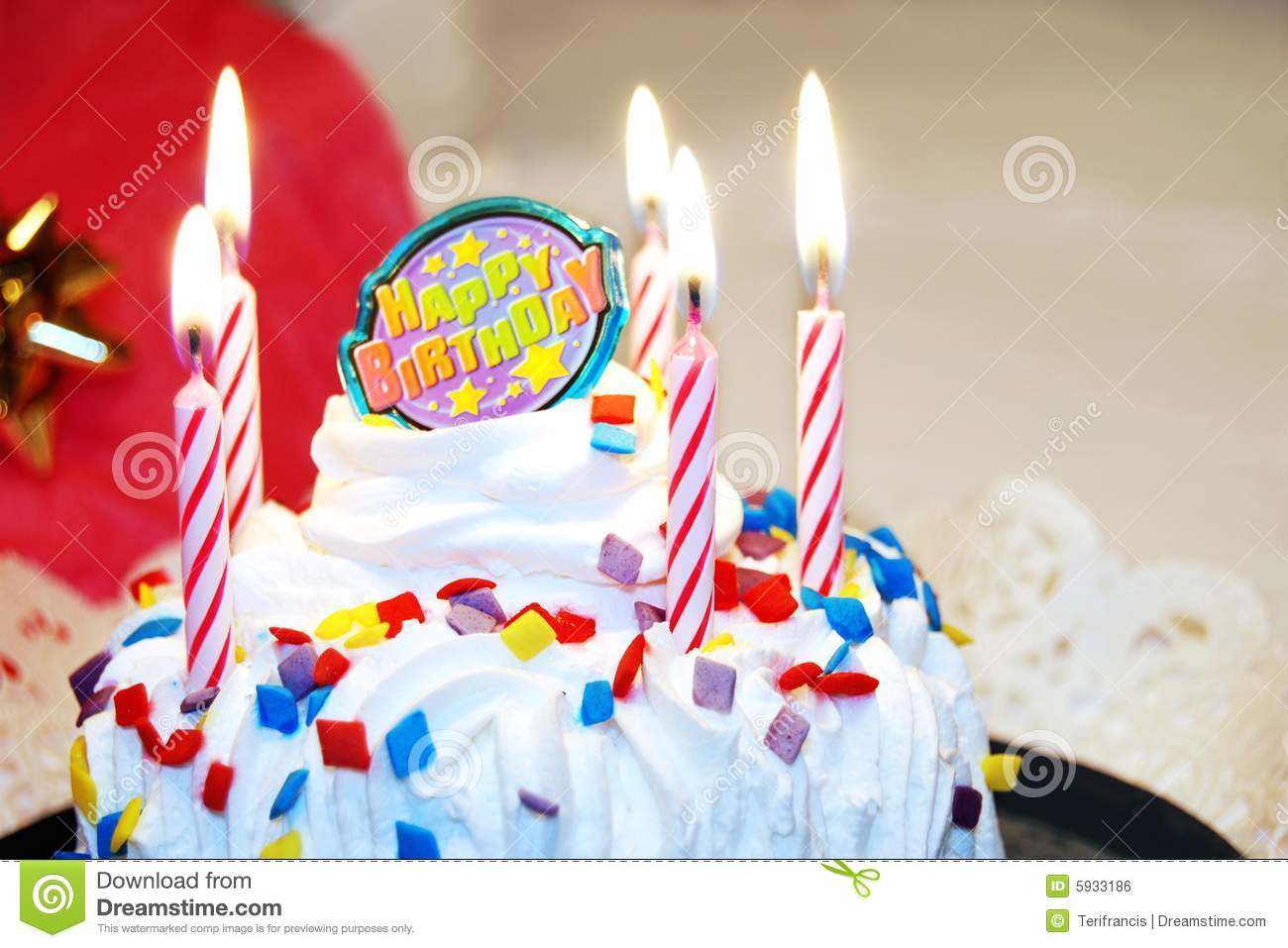 Amazing Happy Birthday Cake With Candles Stock Photo Image Of Icing Funny Birthday Cards Online Elaedamsfinfo