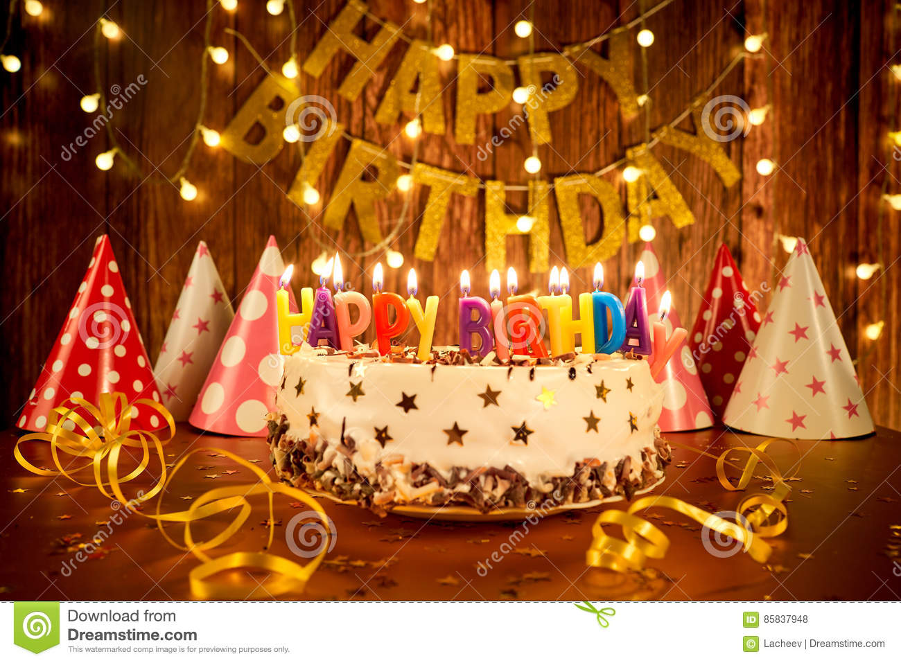 Cool Happy Birthday Cake With Candles On The Background Of Garlands A Birthday Cards Printable Trancafe Filternl