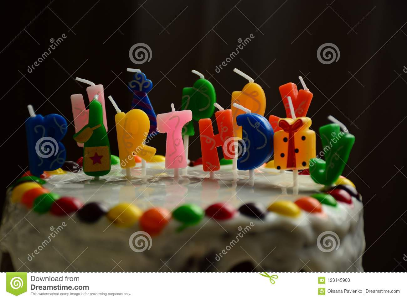 Happy Birthday Cake With Candles On Black Background Stock Photo