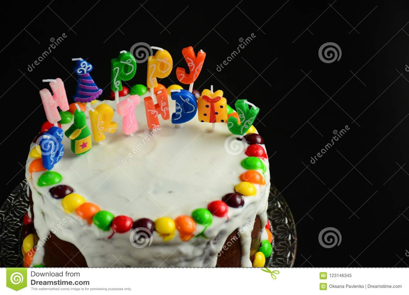 Super Happy Birthday Cake With Candles On Black Background Stock Image Funny Birthday Cards Online Benoljebrpdamsfinfo