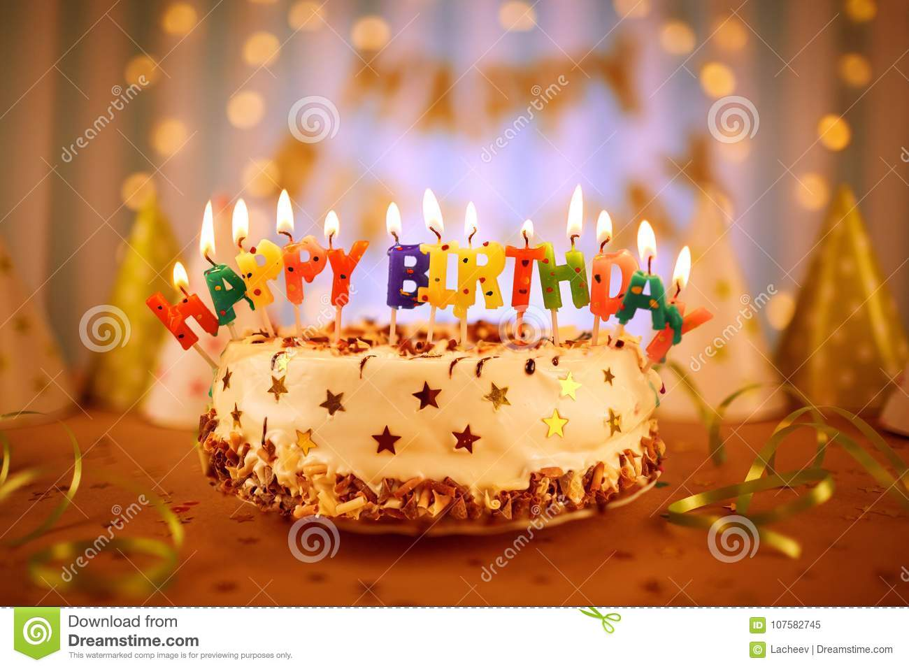 Happy Birthday Cake With Candles Stock Image Image Of Food