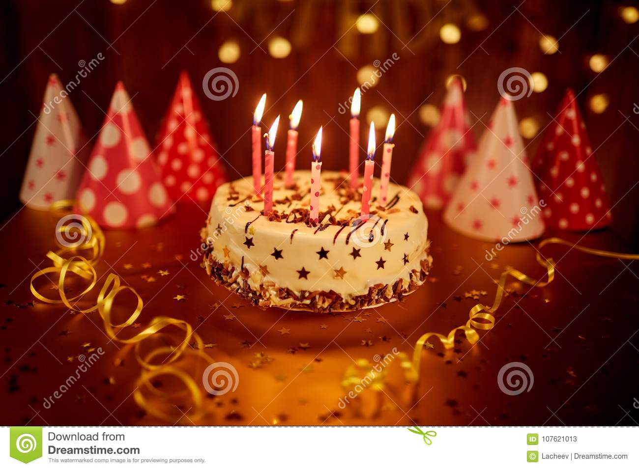 Excellent Happy Birthday Cake With Candles Stock Image Image Of Decor Funny Birthday Cards Online Inifofree Goldxyz