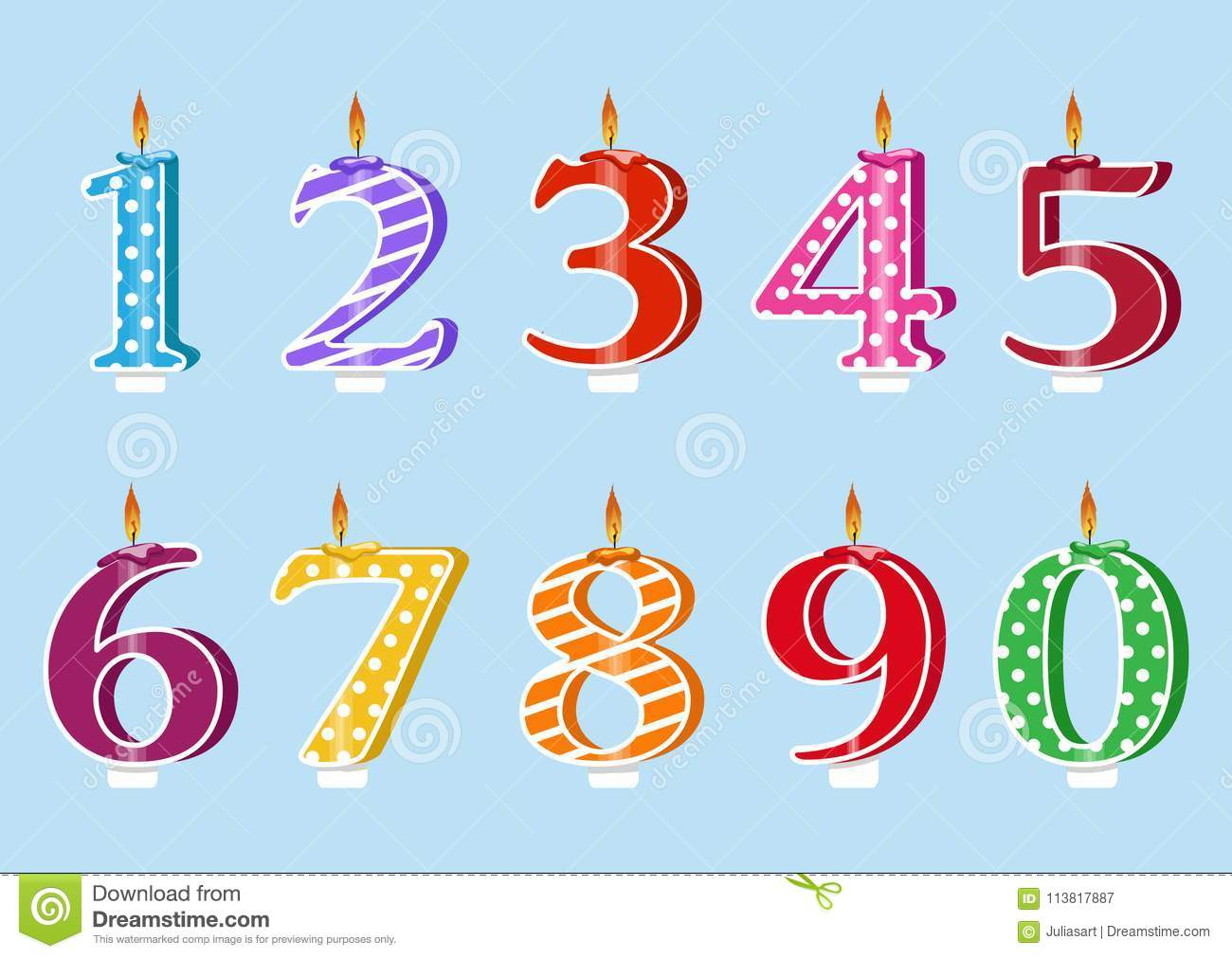 A Set For Birthday Party Happy Cake With Candles Numbers Each Year Vector Illustration