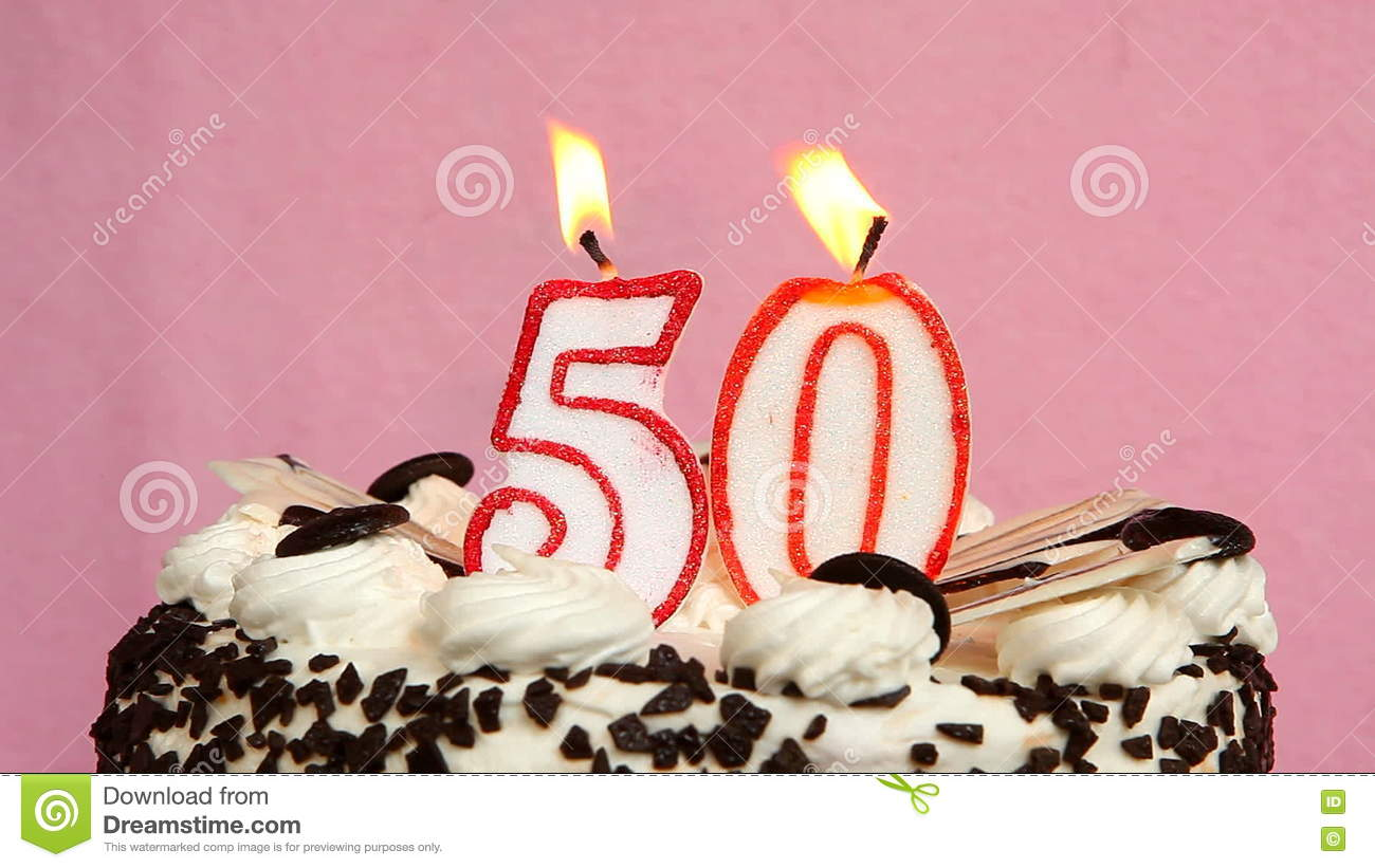 Happy 50 Birthday With Cake And Candles On Pink Background Stock Video
