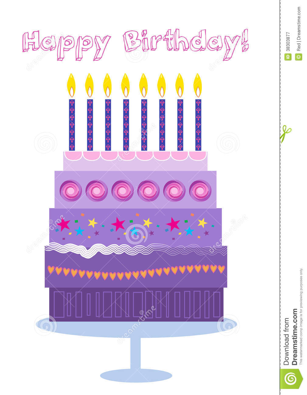 Purple Birthday Candle Clipart Happy Birthday Cake An...