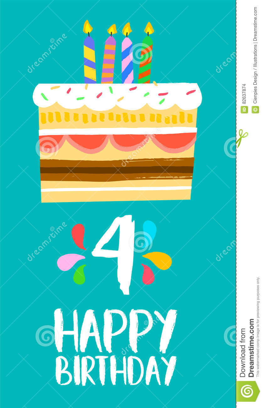 Happy Birthday Number 4 Greeting Card For Four Years In Fun Art Style With Cake And Candles Anniversary Invitation Congratulations Or Celebration Design