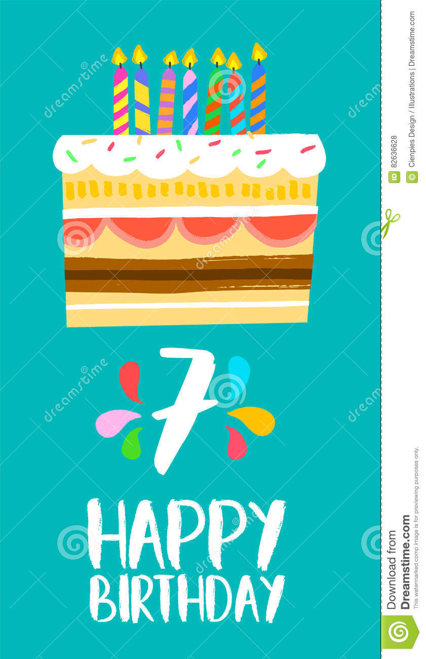 Happy Birthday Cake Card Seven Year Party Number Greeting Years Fun Art Style Candles Anniversary Invitation 82636628