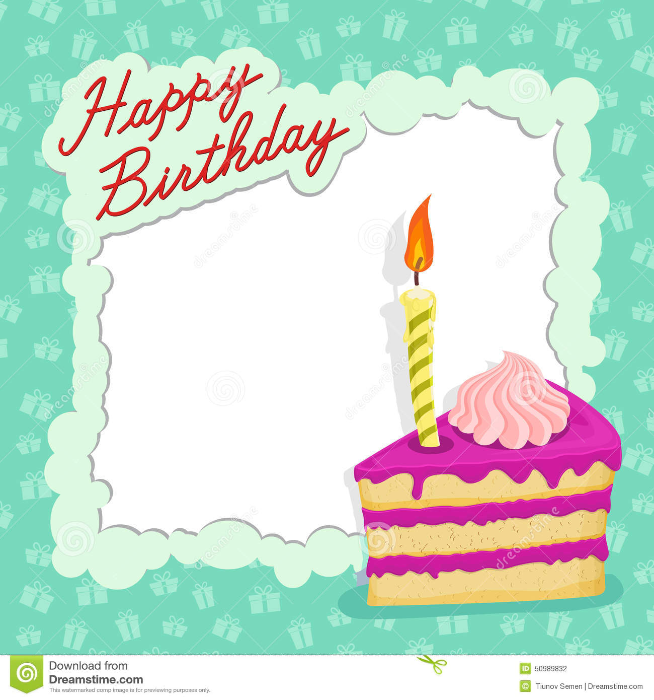 happy birthday cake card. stock vector. illustration of backdrop