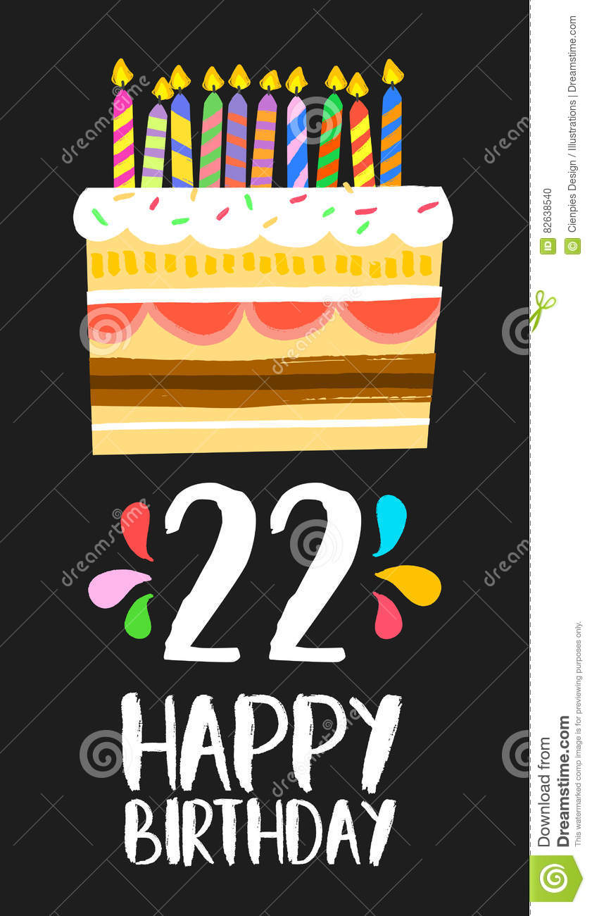 Happy Birthday Number 22 Greeting Card For Twenty Two Years In Fun Art Style With Cake And Candles Anniversary Invitation Congratulations Or Celebration