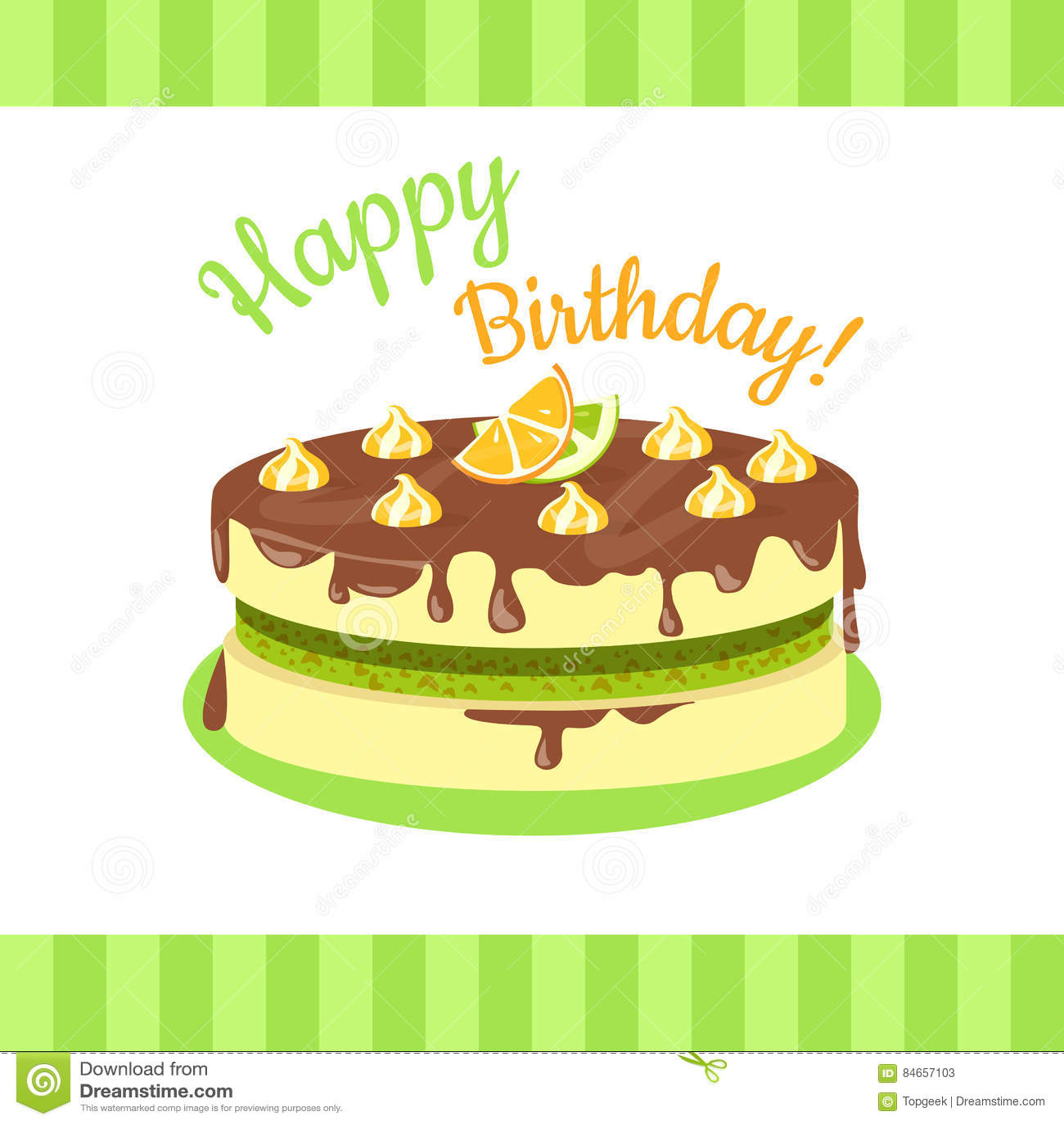 Happy Birthday Cake With Citrus Fruits Isolated