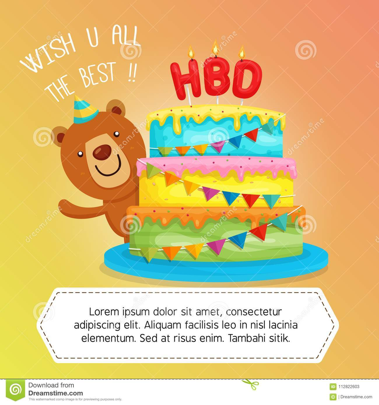 Happy Birthday Cake With Cute Bear Character Illustration Greeting