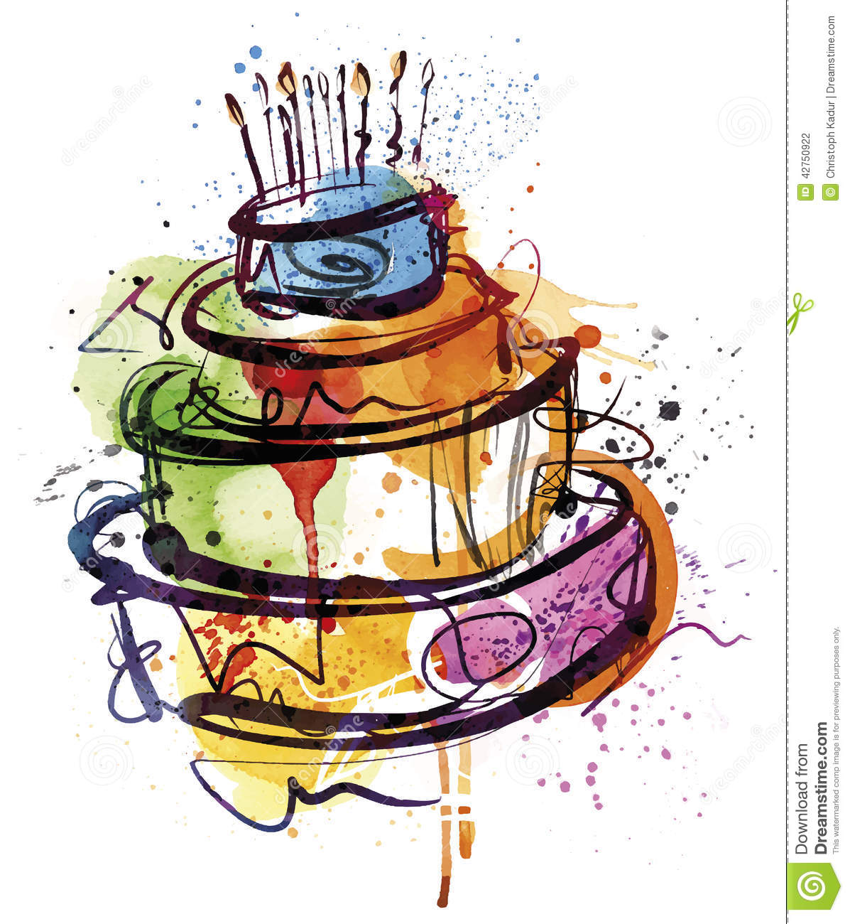 Happy Birthday Cake Stock Vector - Image: 42750922