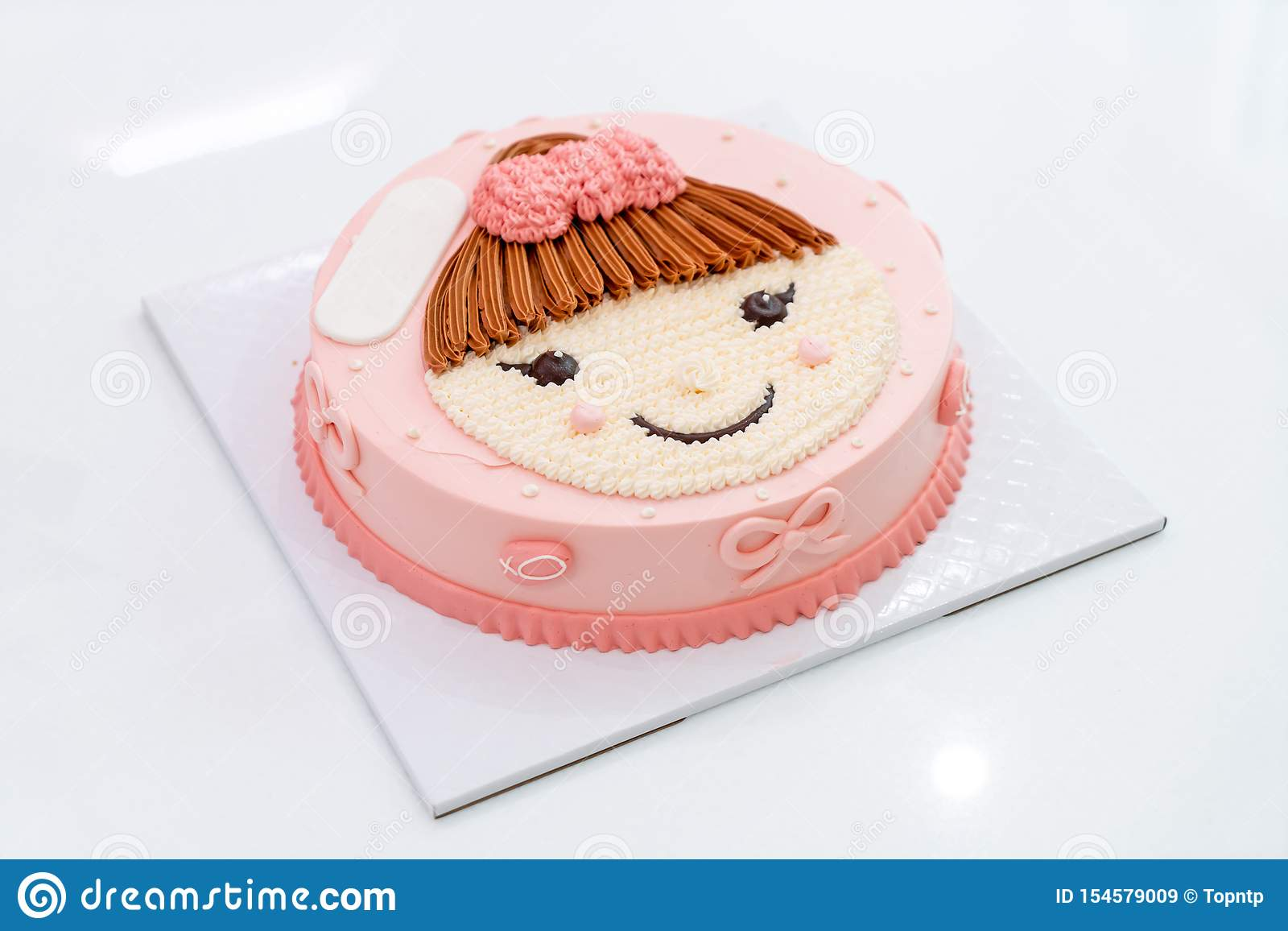 Peachy Happy Birthday Cake With Girl On Top Cake Stock Image Image Of Funny Birthday Cards Online Elaedamsfinfo