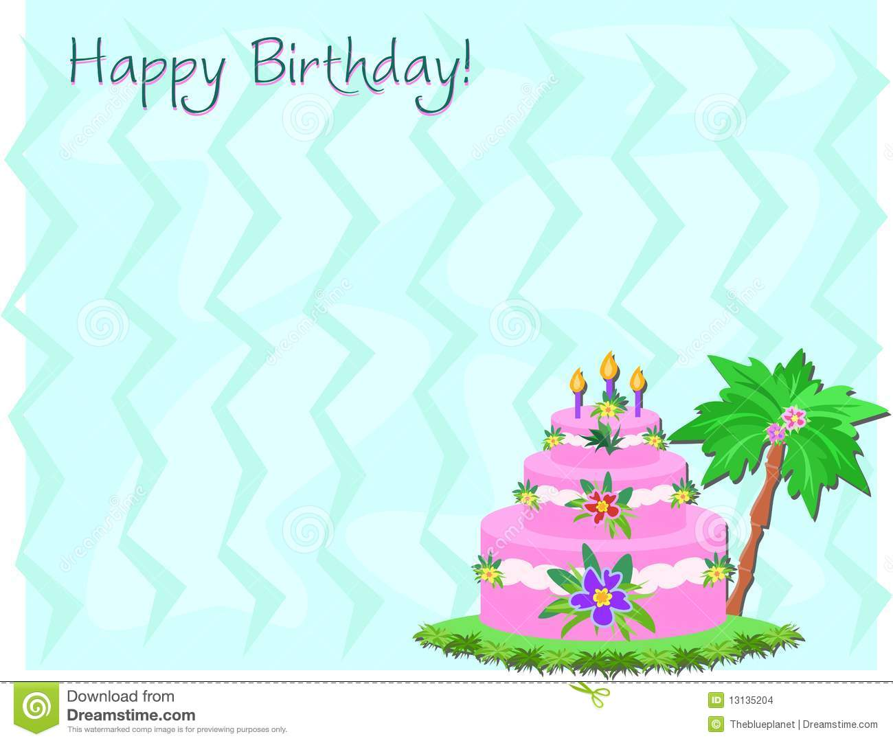 Happy Birthday Cake And Greeting Stock Images - Image: 13135204