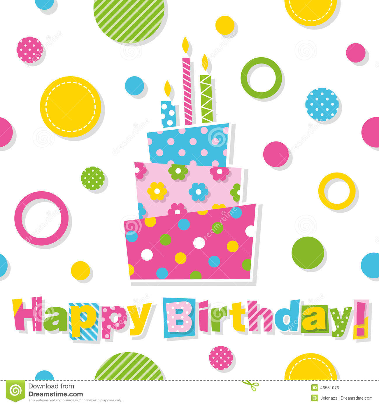 Happy Birthday Cake Greeting Card Stock Vector Image 46551076